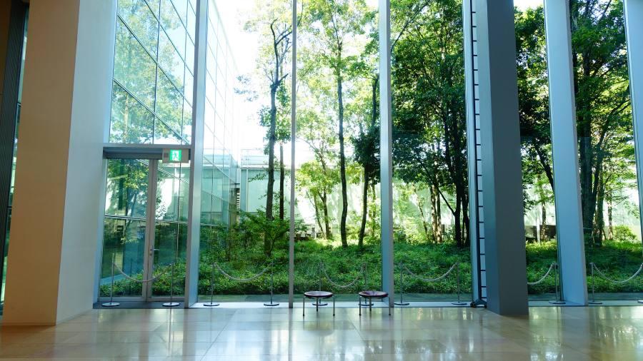國立國會圖書館關西館館內落地窗中庭
