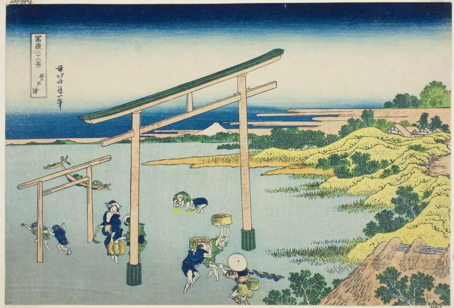 「富嶽三十六景」系列當中的「登戶浦」