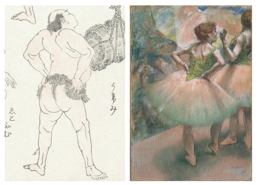 左:葛飾北齋的「北斎漫画」第十一編。右:法國畫家Edgar Degas的作品「Dancers, pick and green」